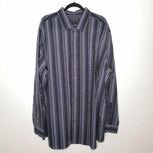 Synrgy Blue & Black Multi Stripe Button Down Shirt
